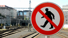 Sign: no entry, train station in the background Stock Footage