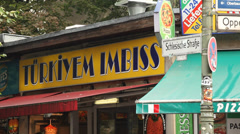 Berlin Kreuzberg, typical Turkish Imbiss kebab shop  - stock footage
