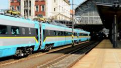 Pendolino(train) departs from railway station Stock Footage