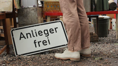 Berlin - German Sign - Residents only - on a flea market Stock Footage