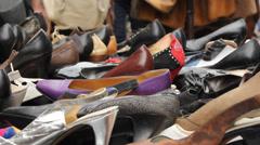 Vintage shoes at Mauerpark flea market in Berlin Stock Footage