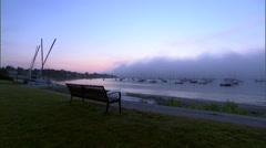 Early morning fog at a beach on narragansett bay Stock Footage
