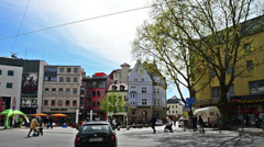 Panning over Holzmarkt in Jena, Germany Stock Footage