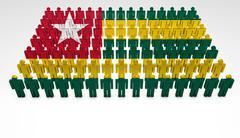 Togo flag parade Stock Illustration