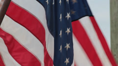 US Flag (Old Glory) and Palm Tree in Background Stock Footage