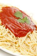 whole grain pasta with tomato sauce - stock photo