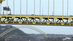 2K Fort Pitt Bridge Traffic 4202 Stock Footage