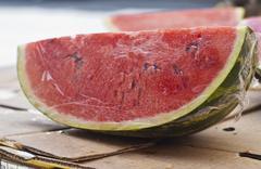 fresh water melon slices - stock photo