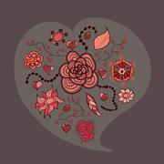 heart from flowers leaves and insects - stock illustration