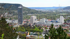 View over Jena, Germany Stock Footage