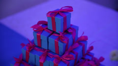 Present Boxes on a Table Stock Footage