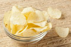 crispy fresh potato chips - stock photo