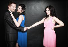 Marital infidelity concept. love triangle passion hate Stock Photos