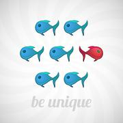 Be unique concept, blue red fish, isolated Stock Illustration