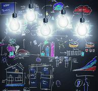 Stock Illustration of illumination - bulbs casting light on ideas