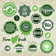 Collection green vector labels, badges and icons Stock Illustration