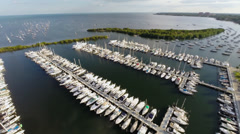 Coconut Grove Aerial View from over Dinner Key Marina Stock Footage