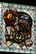 stained glass window in cloitre de la psalette - cathedral of  saint gatien i - stock photo