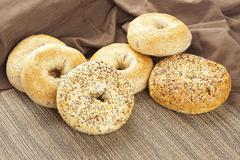 homemade fresh whole grain bagel - stock photo