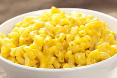 macaroni and cheese in a bowl - stock photo