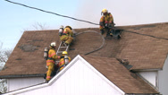 Stock Video Footage of Firefighters Attic Fire