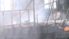 Smoldering House Fire Close Up Stock Footage