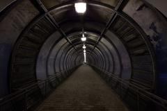 dark tunnel - stock photo