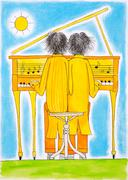 Piano players, Gemini, child's drawing, watercolor painting on paper Stock Illustration