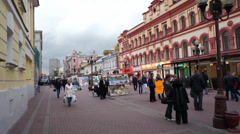 Moscow Arbat Street People Watching 001 Stock Footage