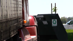 Big rig semi trucks, interstate 5, recycling bin Stock Footage