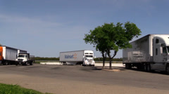 Big rig semi trucks, interstate 5, Walmart Stock Footage