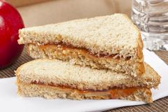 peanut butter and jelly sack lunch - stock photo