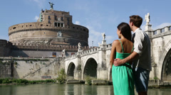 Rome travel tourists by Castel Sant'Angelo Stock Footage