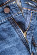 Zipper Down on Blue Jeans Stock Photos