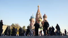 Moscow Red Square Kremlin St Basil Cathedral Day 002 Stock Footage