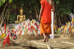 Prayer flags in songkran festival  on sand pagoda Stock Photos