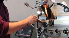 Java: Coffee Roaster Tests the Beans Stock Footage