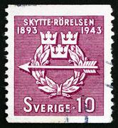 Stock Photo of Postage stamp Sweden 1943 Rifle Federation Emblem
