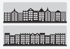 Stock Illustration of town cities silhouette icon set