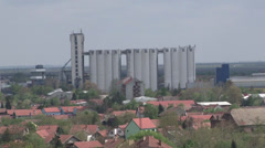 Concrete silos taken from above Stock Footage