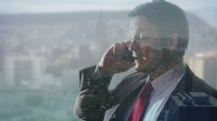 Businessman engaged in a phone call with visual background of New York city - stock footage