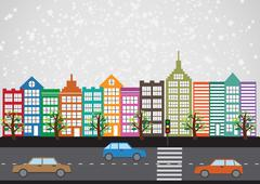 Stock Illustration of colorful cityscape  town city building design