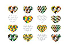 heart abstract  icons signs and symbols set for your works - stock illustration