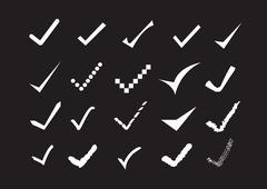 true sign confirm icons set - stock illustration