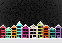 little town townhouses  and home design - stock illustration