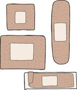 various adhesive bandages - stock illustration