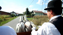 Two men sitting on horse drawn carriage on road Stock Footage