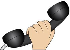 Hand with a telephone handset Stock Illustration