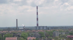 Heating plant with high chimney landscape Stock Footage