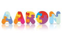 Vector aaron written with alphabet puzzle Stock Illustration